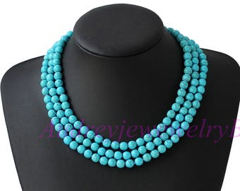 """18""""  Triple Strand  Turquoise Necklace  Trends Gifts for Her Mother's Day Gift  Statement Necklace"""