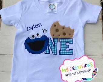 Cookie Monster First Birthday Shirt