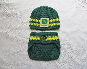 John Deere Inspired Hat and Diaper Cover - Photo Prop Set - Available in 0 to 24 Months