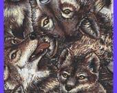 Wolf Print Cotton FABRIC Yardage
