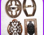 ON SALE Highly Decorative Antique SHOE Buckles Late  1800's Set of 4 Gold