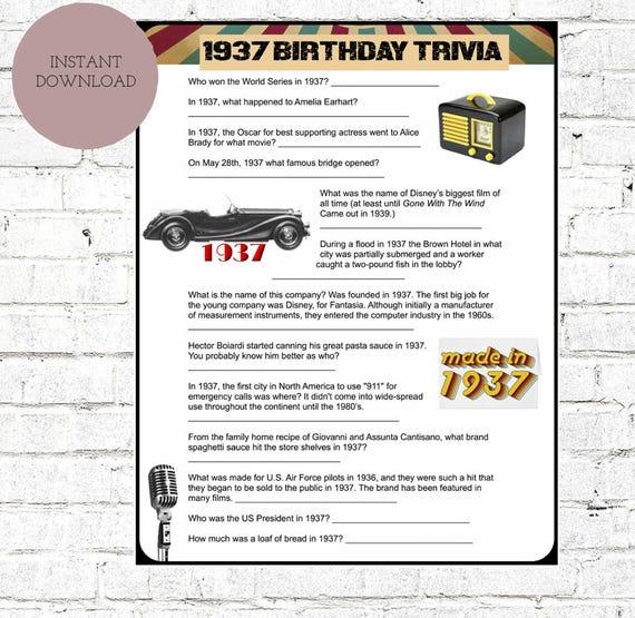 1937 Birthday Trivia Game 80TH Birthday Party Trivia