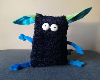 Furry Muma Dark Blue Monster Plushie, Little Pocket Fur Monster Stuffie Toy, Funny Pocket Plush, OOAK Ready to Ship item