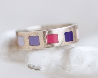 Pink Band Ring - Sterling Silver Ring Size 7 with Colorful Squares Pinks and Purples