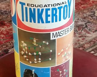 Vintage The Original Tinkertoy Master Builder No. 150  250 Pieces age 3 and up  1972 Questor