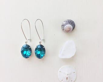 Alexandra Earrings in Indicolite ||Swarovski Crystal Earrings, Silver Earrings, Kidney Ear Wires, Blue Earrings, Long Earrings, Wedding