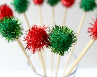 Festive Drink Stirrers, Christmas Wedding, Holiday Party