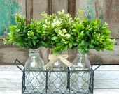 Farmhouse Decor - Boxwood Arrangement - Rustic Decor - Boxwood Vase - Custom Made