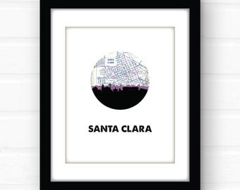 Santa Clara California wall art | California art print | Santa Clara CA print | university room decor | city skyline art | California home