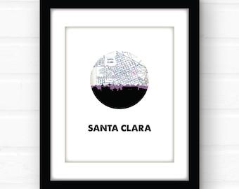 Santa Clara California wall art | California art print | Santa Clara CA print | university room decor | city skyline art | California home