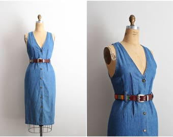 80s Denim Midi Dress / 1980s Jean Dress / Boho Dress / No boundaries Cotton Dress/ Size S/M