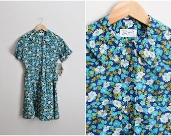 60s Flower Dress / Shirt Dress / Uniform Dress / Day dress / 1960s /50s Wiggle Dress / 1950s Summer Dress/ Size XS/S