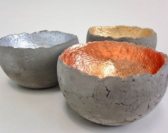 Concrete bowls, set of three, in gold, silver, and copper, ring dish, concrete dish, concrete decor