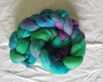 "4oz merino wool roving hand dyed for spinning yarn making needle felting fiber arts supplies blue green purple ""Waterlily"" Colorway"