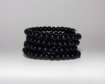 Black Bracelet, Wrap Bracelet, Wide Bracelet, Beaded Bracelet, Fashion Bracelet, Large Bracelet, Glass Bracelet