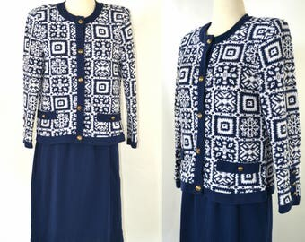 1980s Blue and White Button Up Sweater and Pencil Skirt Set by Stuart Alan Petites