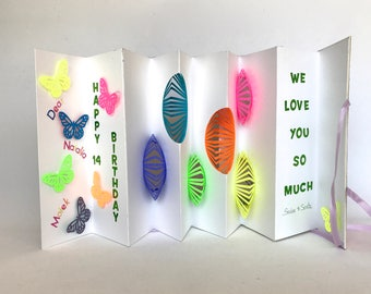 B-DAY Greeting CARD ORIGINAL Pop-Up Accordion Design CUSToM ORDeR w/Hard Cover Handmade w/NeON COLoRS Purple Orange Green Yellow Pink OOaK