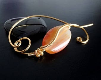 Agate Shawl Pin, Scarf Pin, Sweater Brooch, Gold brooch, Knitting Accessories