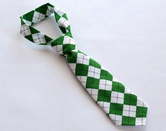 SALE Boys Necktie, St. Patrick's Day Necktie, Little Boy Toddler Tie, Boy Neck Tie, Birthday, Wedding, Green Argyle