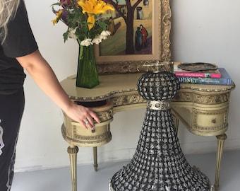 Empire chandelier. Large chandelier. Chic black beads gorgeous shape. Interior design. Fig House Vintage 5 star Atlanta shop
