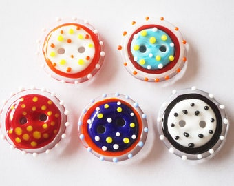 5 Handmade Lampwork Glass Buttons - Mixed Colours - 25mm