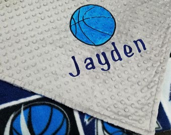Personalized Dallas Mavericks Basketball Fleece and Minky Baby Blanket with basketball applique