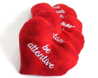 Large Red Heart Shaped Bean Bags With White Cursive Embroidery Cotton Flannel 5 inches wide (set of 5) READY TO SHIP