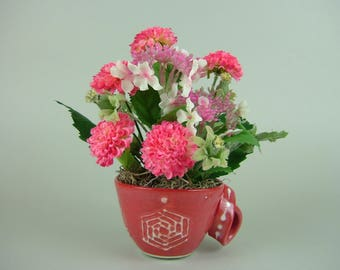 Handmade RED CUP with Twisted Handle with Artificial Plant / Hot Pink Daisy and Hydrangea