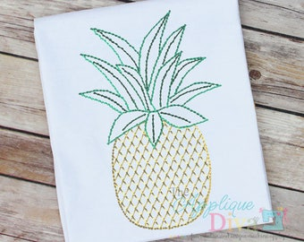 Vintage Stitch Sketch Pineapple Digital Machine Embroidery Design