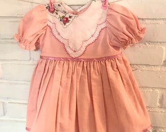 Easter Dress, Pink embroidered flowers Hanky Dress, Spring Toddler Dress, Vintage inspired dress for Baby girl, size 6-12 mo. + petticoat