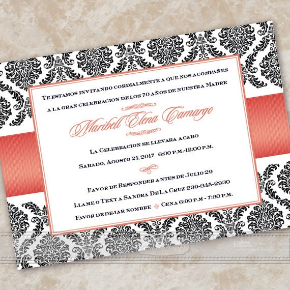 bridal shower invitations, Spanish bridal shower invitations, wedding invitations, poppy birthday party, coral bridal shower, IN609