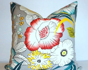 FALL is COMING SALE Amagansett Large Teal Blue Yellow White Floral Pillow Covers 18x18 Throw Pillows