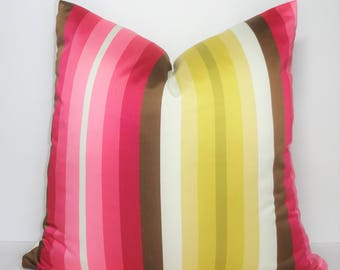 INVENTORY REDUCTION Luxurious Fuschia Pink Yellow Brown Ivory Citrine Sateen Stripe Design Home Decor by HomeLiving Pillow Cover Size 18x18