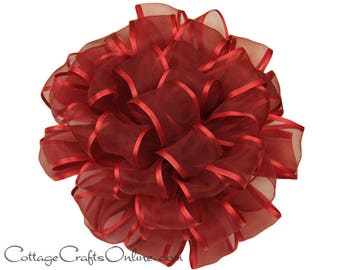 "CLEARANCE!! Wired Ribbon, 7/8"" wide, Red Sheer, Satin Edge - THREE YARD Roll - Offray ""Arabesque"" Red, #376 Wedding, Prom Wire Edged Ribbon"