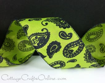 """Halloween Wired Ribbon, 2 1/2"""", Black and Lime Green Glitter Paisley, TWO & 1/3 YARDS, """"Paisley Bones"""" #7122725 Green Wire Edged Ribbon"""
