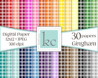 SALE - Gingham - Scrapbook Paper, 30 pack, 12x12 Pages, JPEG 300dpi, Personal and Commerical Use, Digital Paper, Background Pages. DP014