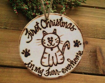 HOLIDAY Adopted PET Ornament Cat First Christmas in Forever Home Furrever Name Engraved on the Back with the Year ADOPT don't shop!
