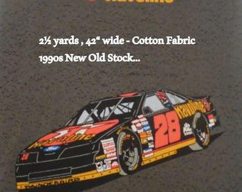 Vintage Nascar Cotton Fabric, #28 Havoline, Robert Yates & Texaco Trademarks, Robert Yates Promotions, 90s Nascar Cotton Fabric, Vtg NASCAR