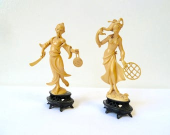 Pair of 1940's Small Faux Ivory Asian Statuettes, Celluloid Figurines, Made in Italy, Decorative Traditional Asian Character Figurines