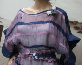 """Top silk and felt purple and blue """"Sweet dream..."""""""