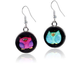 Whimsical Owl Earrings - From My painting Lydia and Harry by Salvador Kitti - One ear you wear Lydia and the other ear you wear Harry!