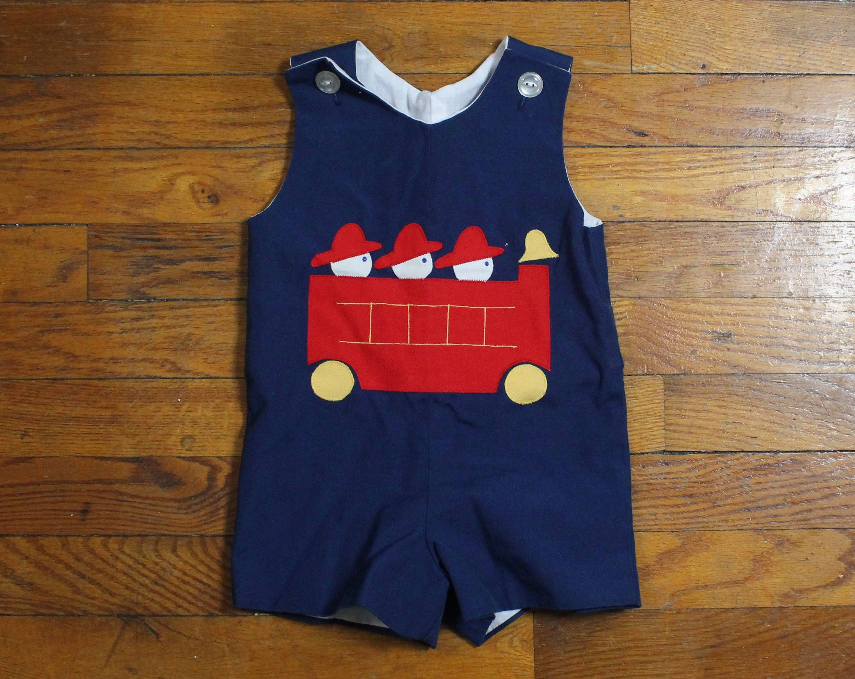 Vintage Baby Boy Romper Navy Blue White Red Fireman Fire Truck