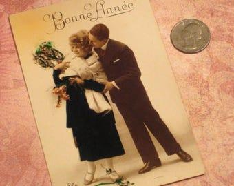 Antique Postcard French Romantic Bonne Annee