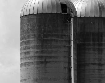 Wisconsin Silos, Country Barn, Country farm, Home decor, Wall decor, Country chic, Farm Decor, Landscape Photo, Fine Art, Black & White