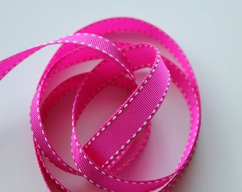 "5/8"" Grosgrain Ribbon with Side Stitching - Fuchsia with White Stitching 5 yards"