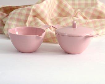 Retro Pink Melmac Cream & Sugar Bowls   Vintage Melamine   Mad Men Style   Hard Plastic Cream and Sugar   MCM Mid Century Kitchen