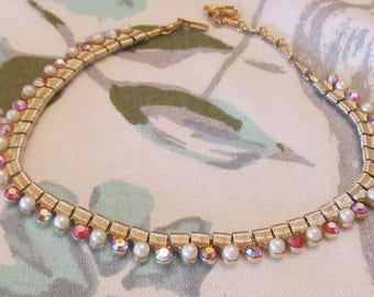 Vintage Coro Gold Tone Choker Necklace with Drop Down Faux Pearls and AB Stones