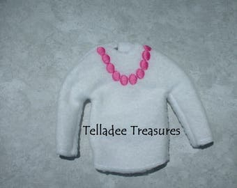 """Christmas Elf Doll Pink Pearl Shirt or Sweater- Dress your 12"""" doll for your favorite occasion - Use as accessory or prop"""