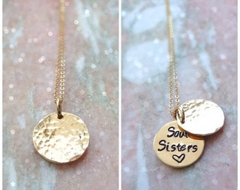 Gold or silver secret message necklace, Hand stamped custom phrase, friendship necklace, hidden message locket, pearl