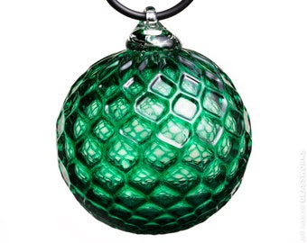 Hand Blown Glass Ornament - Transparent Dark Emerald Green with Diamond Pattern